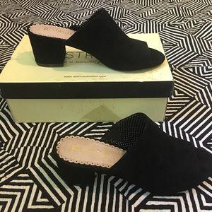 Restricted HANYA Black peep toe mules size 7.5